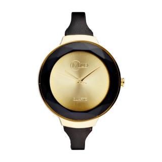 Muse - Montre Femme doré La facette - bracelet cuir noir