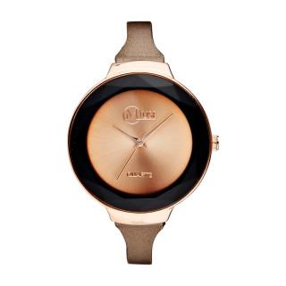 Muse - Montre Femme rosé La facette - bracelet cuir marron