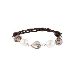 Bracelet perles de culture blanches Shamballa Alterna Smoky Blanc
