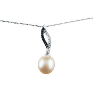 Pendentif argent, oxydes de zirconium et perle de culture Blanche Tail + chaîne argent offerte