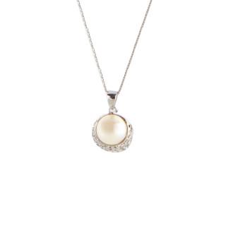 Pendentif argent, oxydes de zirconium et perle de culture Blanche Bouton de perle + chaîne argent offerte