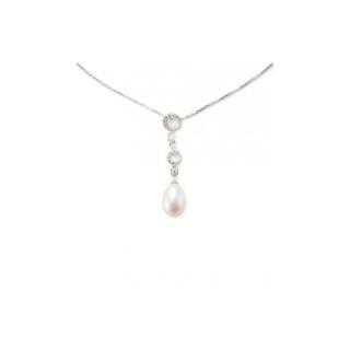 Pendentif argent, oxydes de zirconium et perle de culture Blanche   Anneaux d'Argent et Perles + chaîne argent offerte
