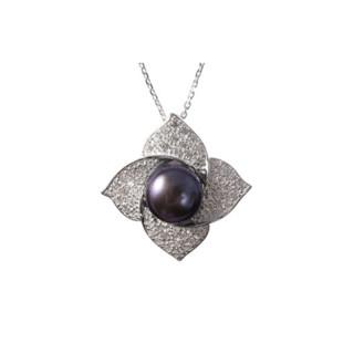 Pendentif argent, oxydes de zirconium et perle de culture Noire Corolle + chaîne argent offerte