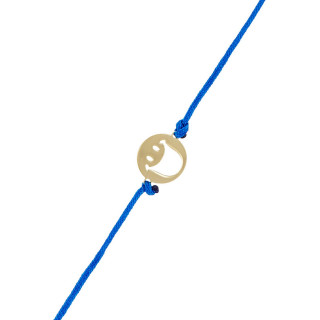 Bracelet cordon Smiley Vermeil Jaune et cordon bleu Happy