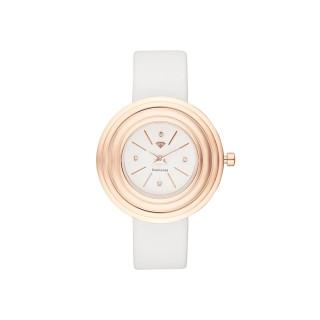 Montre Femme Romane Diamants 0,012 carats - Cadran blanc Bracelet cuir blanc