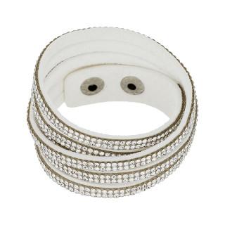 Bracelet tissu blanc orné de cristaux blancs Double tour
