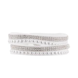 Bracelet tissu blanc orné de cristaux Un tour