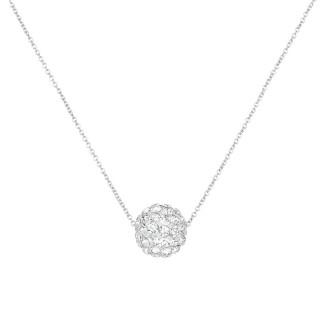 Collier Or Blanc et oxydes de zirconium Blancs Bulle de crystal