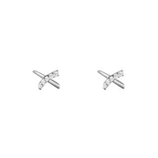 Boucles d'oreilles or blanc et oxydes de zirconium Croisillons