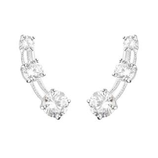Boucles d'oreilles grimpantes or blanc et oxydes de zirconium Trio de Pierre