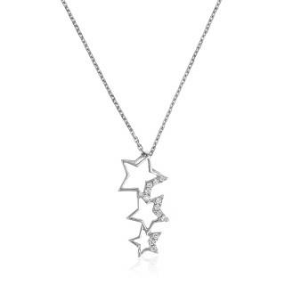 Pendentif Or Blanc et oxydes de zirconium  Constellation + chaîne argent offerte