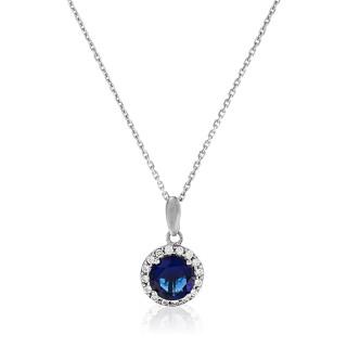 Pendentif Or Blanc et oxydes de zirconium  Bleu merveilleux + chaîne argent offerte