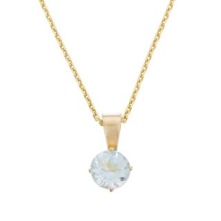 Pendentif Or Jaune et Topaze 0,66 carats Puce + chaîne argent doré offerte