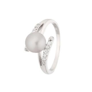 Bague argent, perle de culture grise et oxydes de zirconium Perle Ensorcelante Grise
