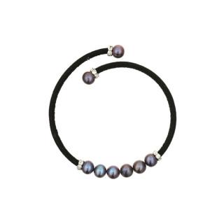Bracelet argent et perles de culture noires Magique