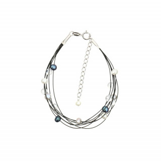 Bracelet argent et perles de culture grises et blanches Nébuleuse