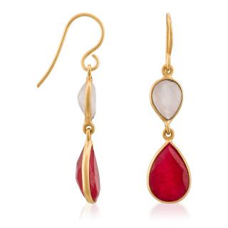 Boucles d'oreilles laiton doré montées d'une aventurine et d'un quartz rose Alice
