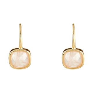 Boucles d'oreilles laiton doré montées d'un quartz rose Ella