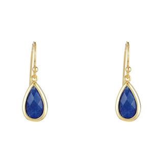Boucles d'oreilles laiton doré montées d'une aventurine bleue Lila