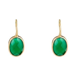 Boucles d'oreilles laiton doré montées d'une agathe verte Lisa
