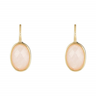 Boucles d'oreilles laiton doré montées d'un quartz rose Lisa