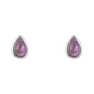 Boucles d'oreilles laiton argenté montées d'une améthyste violette Lola