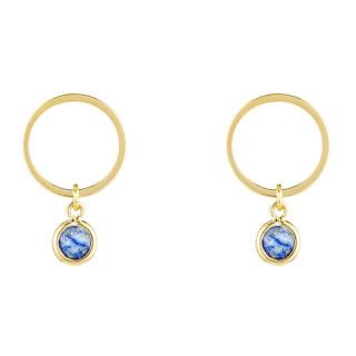 Boucles d'oreilles laiton doré montées d'un lapis bleu Maud