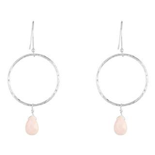 Boucles d'oreilles laiton argenté montées d'une opale rose Noéllie