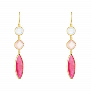 Boucles d'oreilles laiton doré montées d'une calcédoine, d'une aventurine et d'une pierre de lune rose Pauline
