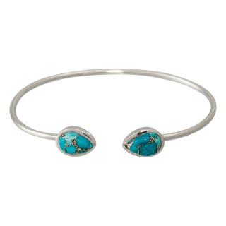 Bracelet jonc ouvert laiton argenté, turquoise bleue Aude