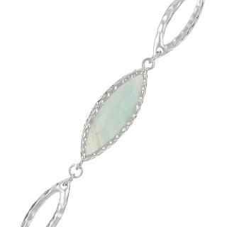 Bracelet chaine laiton argenté monté d'une amazonite verte Clémence