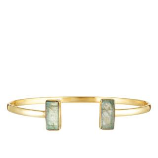 Bracelet jonc ouvert laiton doré monté d'une labradorite grise Evita