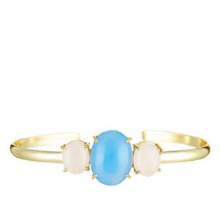 Bracelet jonc ouvert GLADYS laiton doré monté d'une onyx et quartz bleu