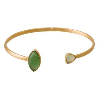 Bracelet jonc ouvert laiton doré monté d'une calcédoine et d'une préhnite verte Isa