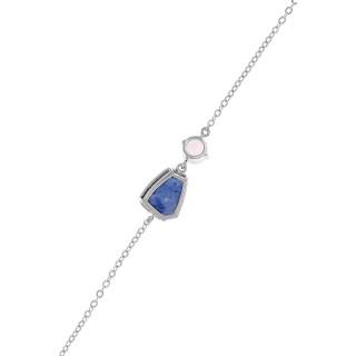 Bracelet chaine JULIANA laiton argenté monté d'une aventurine bleue et d'un quartz