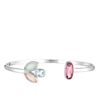 Bracelet jonc ouvert laiton argenté monté de calcédoine blanche et rose, d'une topaze bleue et d'une aventurine verte Roséna