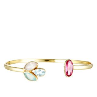 Bracelet jonc ouvert laiton doré monté d'une calcédoine blanche et rose, d'une topaze bleue et d'une aventurine verte Roséna
