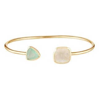 Bracelet jonc ouvert laiton doré monté d'une pierre de lune et d'une aqua calci blanche Talia