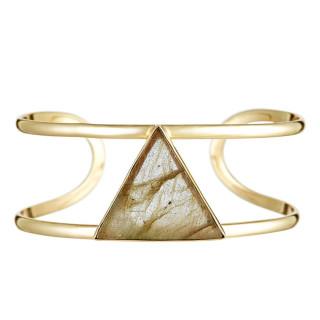 Bracelet jonc ouvert laiton doré monté d'une labradorite grise Tara