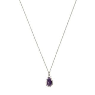 Collier laiton argenté monté d'une améthyste violette  Lora