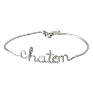 CHATON Bracelet jonc en fil lettering argenté à message