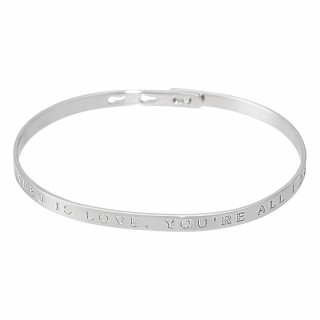 ALL YOU NEED IS LOVE, YOU'RE ALL I NEED Jonc argenté bracelet à message