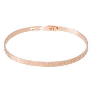 SI TU N'EXISTAIS PAS IL FAUDRAIT T'INVENTER Jonc rosé bracelet à message