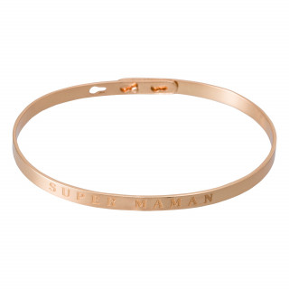 SUPER MAMAN Jonc rosé bracelet à message