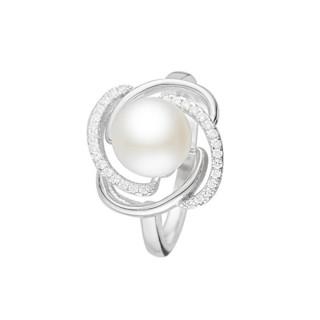 Bague argent, perle de culture Blanche et oxydes de zirconium Sweet Pearl