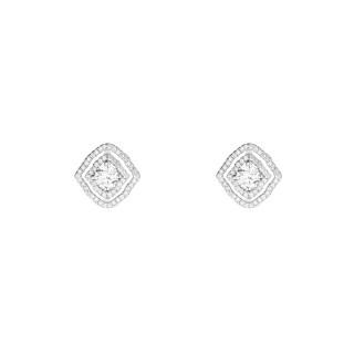 Boucles d'oreilles argent et oxydes de zirconium Coussins Brillantini