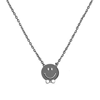 Collier Smiley Argent Noir Noeud de Pap
