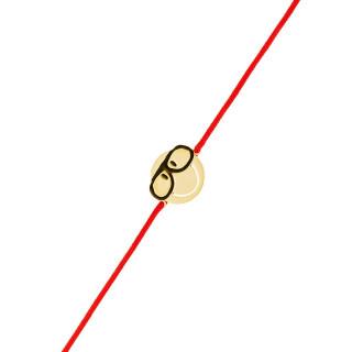 Bracelet cordon Smiley vermeil jaune et cordon rouge Intello
