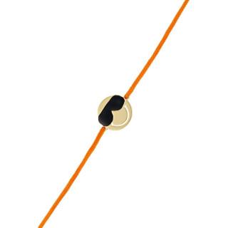 Bracelet cordon Smiley vermeil jaune et cordon orange Cool