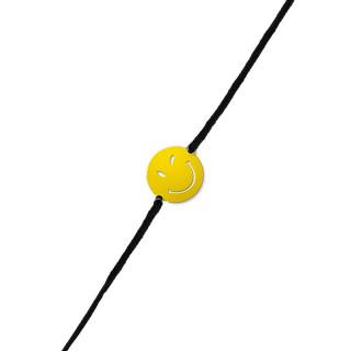 Bracelet cordon Smiley vermeil jaune et cordon noir Sympa